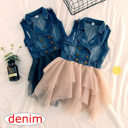 Wholesale Denim Lace Vest - INS Baby Girls Denim Lace Tutu Dress New Spring Summer Dresses Childrens Sleeveless for Kids Clothing Flower Denim Vest Dress free ship