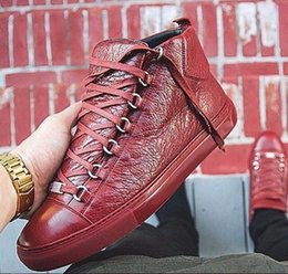 Wholesale Cracks Shoes - Men's Fashion arena High-top Bovine skin wrinkle crack Leather Lace Up zapatos hombre French Style Sneakers kanye west Shoes
