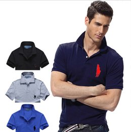 Wholesale organic cotton t - Hot luxury New Brand crocodile embroidery Polo Shirt Men Short Sleeve Casual Shirts Man's Solid Polo t shirt Plus Camisa Polo