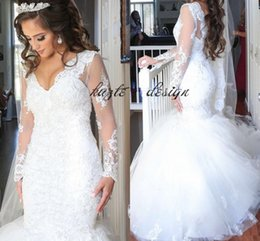 Wholesale Black Puffy Skirt Chiffon - Puffy Mermaid 2018 Long Sleeves Lace Wedding Dresses Sequins Beading Luxury Dubai Arabic Lace Novia plus size castle Bridal Gowns