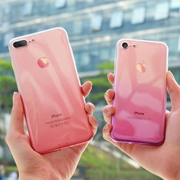 Wholesale Clear Dust Plugs - Transparent Gradient Changing Colors Clear Case Ultra Slim Soft TPU Cover With Dust plug For iPhone X 8 7 6 6s Plus 5S SE Opp Bag