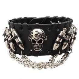 Pulseira de couro preto do punk dos homens do vintage harley motocicleta crânio esqueleto bala encantos pulseiras do motociclista pulseira para homem moda jóias cheap skeleton bangle de Fornecedores de bracelete de esqueleto