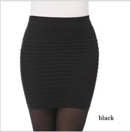 Wholesale Ladies Black Pleated Mini Skirt - New 2018 Office Lady Skirt Women Mini Skirts High Waist Candy Color Elastic Pleated Skirt Ol Mini Wrinkle Skinny Short Skirts