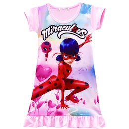 Wholesale Cartoon Character Costume Princess - 2-10Y New Cartoon Miraculous Ladybug Print Girl Dress Summer Children Clothes Cute Girl Nightdress Kids Party Princess Dress Cosplay Costume