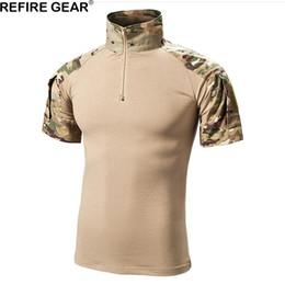 equipo de camuflaje táctico Rebajas Refire Gear Camo al aire libre Camisas Hombres Camisas de caza táctica de manga corta de algodón Camisa de senderismo rana respirable transpirable de verano