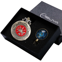 Wholesale Vintage Jewelry Watches - Vintage Bronze Fashion Red Fire Fighter Quartz Pendant Pocket Watch Chain Necklace Jewelry Firefighter Gifts Box Sets for Men Women Ulzzang