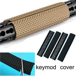 Wholesale Handguard Covers - Black Tactical Keymod Handguard Accessories Hunting 4pcs Rifle Quad Rail Rubber Keymod Soft Rail Cover 6.2 inch Rail Cover Keymod Sections