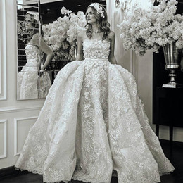 elie saab vintage wedding dresses Coupons - 3D Floral Wedding Dresses with Overskirt 2018 Modest Full Lace Flower Strapless Elie saab Church Train Castle Civil Wedding Gown
