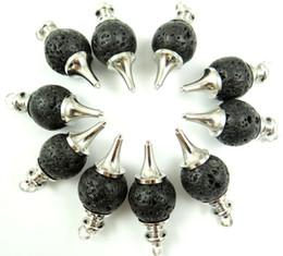 2019 dowsing pêndulos 1 pcs pedra natural contas de lava de rocha vulcânica artesanal cura pingente de pêndulo amuleto dowsing gem pingente de colar de jóias fazendo dowsing pêndulos barato