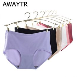 Wholesale Orange Process - Awaytr New Process Intimates Cotton Women's Panties Non-trace Seamless Underwear Ms in waist Sexy Natural Cotton Briefs