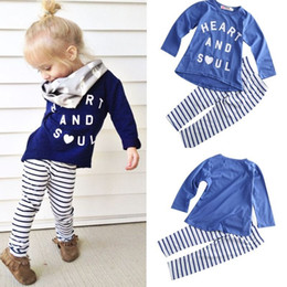 Wholesale Boys 24 Months Pajamas - 2016 clothes girls baby kids boys children clothing sets suits pajamas girls 2pcs sleepwear cotton tshirt strip leggings outfits