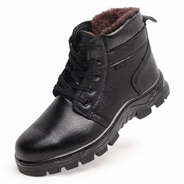 high heel steel toe shoes Promo Codes - Wholesale Winter High Heel Steel Toe Industrial Safety Boots Safety Shoes