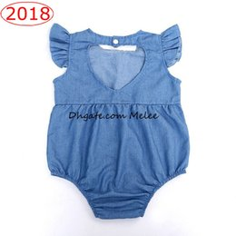 Wholesale Denim Baby Rompers - 0-2Years INS Kids Washed Denim Blue cotton rompers Baby Romper Love Heart Shape Back Toddler Baby Clothes Romper free ship