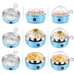 Wholesale mini electric cooker - 220V 50HZ Multifunctional Electric 7 Egg Boiler Cooker Mini Steamer Poacher Kitchen Cooking Tool US Plug 350W Light Blue