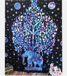 Murais de elefantes on-line-Hot new bohemia 150 * 130 cm impressão mural da parede de decoração para casa tapestrys elefante pavão poliéster xale toalha de praia yoga mat
