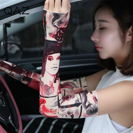 Wholesale Brown Driving Gloves - QAZ Section Drove UV Sunscreen Half Finger Long Gloves Cuff Arm Sleeve Sun Hand Protection Womens Fingerless Gloves W455