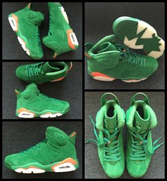 2020 zapatillas de baloncesto kobe naranja 2018 Air New 6 VI Gatorade Men Basketball Shoes Cheap Green White Orange Suede NRD Sneakers 6s Hombres Deportes Trainer Shoes 8-13 rebajas zapatillas de baloncesto kobe naranja