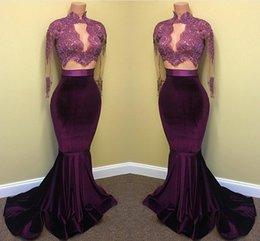 Wholesale Velvet Evening Gowns Sleeves - 2018 Hot Velvet Prom Dresses Mermaid Lace Appliques Beaded Sheer Long Sleeves Sweep Train Evening Party Gowns Arabic Celebrity