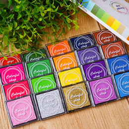 Wholesale Rubber Stamping Wholesale - Creative hand tools finger painted decoration classification mark lovely 4*4cm practical color ink pad DIY tubber stamp pad 20-color boxed