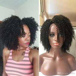 Wholesale real european lace wigs - Afro Kinky Curly Wig For Black Women Glueless Short Bob Kinky Curly Lace Front Wigs Real Hair Short Kinky Curly Full Lace Wigs