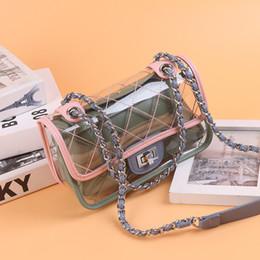 jelly candy прозрачные сумочки Скидка Женщины сумка Мода Женский сумки высокого качества Прозрачный мешок плеча Clear PVC Jelly цепи конфеты Crossbody мешок Sac основной
