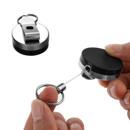 Clip in nastro in acciaio inox online-Portachiavi con portachiavi in metallo con anello retrattile in acciaio inossidabile