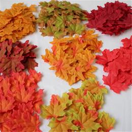decorazioni di foglie di autunno Sconti 50pcs foglie di acero panno artificiale multicolor 7,5 cm autunno caduta foglia foto puntelli per camera da letto di nozze parete decor festa mestiere 1 4jj yy