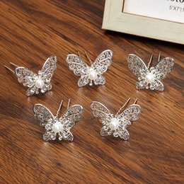 Wholesale silver butterfly headband - AWAYTR Woman 5Pcs\u002FLot Butterfly Inlaid imitation pearls Hair Clip Hairpin
