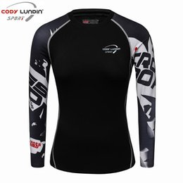 Wholesale long body t shirt women - 2018 New Women girls Compression T-Shirts Long Sleeve 3D Print Tee Female Body Weight Lifting Workout Fitness Clothing