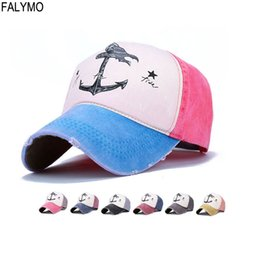 842700b5113 Unisex Washed Cotton Pirate Anchor Printing Sunhat Baseball Cap Fitted Hat  Casual Gorras Hip Hop Snapback Hats for Men Women