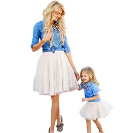 matching mother child clothes Promo Codes - Mother Daughter Clothes Set Family Look Children Girl Women Long Sleeved Denim Shirt+tutu Skirt Matching Outfits