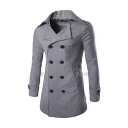 Wholesale Custom Made Wool Coats - 2017 Custom-made High Grade Gray Coats Men's Fashion NEW Modern Wool Blend Double Breasted Coats