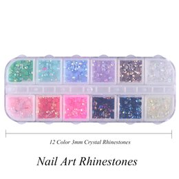Wholesale Gem Nails - igh Quality rhinestone 3d 12 Color Box 3mm Crystal Colorful Jelly Rhinestones 3D Nail Art Decor Glitter Gems Stones Manicure DIY Set Flat...
