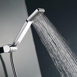 Wholesale Water Saving Head - High Pressure Hand Held Shower Head Water Saving Square ABS with Chrome Plated Bathroom Rainfall Shower