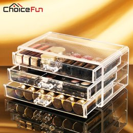 Wholesale Clear Plastic Folding Boxes - CHOICE FUN Acrylic Make Up Organizer 3 Drawers Storage Box Clear Plastic Cosmetic Storage Box Makeup Organizer SF-1005-1