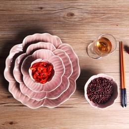 Bandeja japonesa on-line-5 pçs / set Rosa pratos de placa de pétala de flor estilo Japonês bandeja de frutas tigela de salada lanche bandeja pratos de comida conjuntos de louça