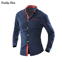 Wholesale mens dotted shirts - Dress shirt men slim fit style male for boys Wave Point Polka Dot Casual shirt mens long sleeve Grid Classic designer Brand 4xl