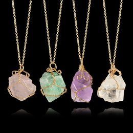 Wholesale Natural Quartz Rock Crystal - Fashion Irregular Rainbow Stone Natural Crystal Chakra Rock Necklace Gold Color Chain Quartz Pendant Necklacefor for Women