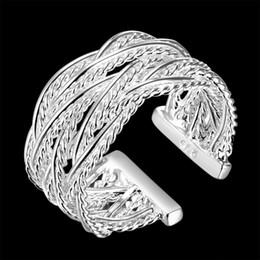 оптовые кольца стерлингового серебра Скидка 2018 новые ювелирные изделия большой размер сетки машут сердце стиль стерлингового серебра 925 #8 r023 размер милые девушки Мужчины Женщины подарок оптовая цена