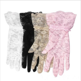 Wholesale Bridal Mittens - 4 colors Lace Gloves Wedding Party Bridal Gloves Lady Car Drive Sun Protection Mittens Wrist Length Full Finger Gloves Sexy Fashion