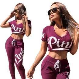 Wholesale Girls Short Sleeve Sweater - PINK Letter Women Purple Sports Suits Yoga Pants V-neck Shirts Running Pullover Trousers Sets Print Sweater Tops Girl Outerwear Leggings