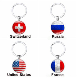 Wholesale Cup Fan - 2018 Russia World Cup Football Keychain Football Match Key Buckle Metal Aluminum Alloy Country Flag Soccer Fans Souvenir Gift CCA9072 150pcs