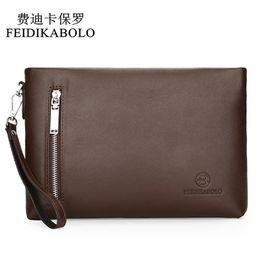 Wholesale Envelope Wallets - FEIDIKABOLO New 2017 Business Male Leather Purse Men's Clutch Envelope Clutches For Men Handy Bag Wallet Man Brand Designer Bags