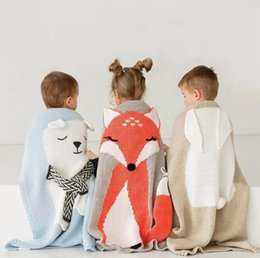 Wholesale Fox Bedding - Cartoon Bear Fox INS Baby Blanket Throw on Sofa Bed Knitted Thread Blankets For Newborn Children Kids Swaddle Sleeping Mat OOA3976