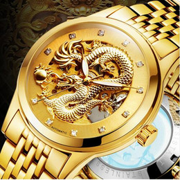 Wholesale Black Water Dragon - Luxury Automatic Mechanical Wristwatches Dragon Genuine Leather Stainless Steel Band Men's Watch Waterproof relogio masculino