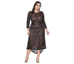 Wholesale Floral Dress Material - Women's Casual 3 4 Sleeve Lace Wrap High Waist Rise Irregular Maxi Large Size Nylon Materials Dress