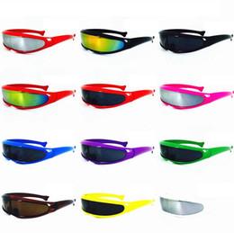 Wholesale laser glass lens - Fish Shaped Laser Casual Sunglasses Eye Glasses X-Man Eyewear Mercury Lenses Robot Laser Goggles Outdoor Sun Glasses 12 Colors LJJO4737