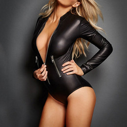 Wholesale Leather Bodysuit Women - Women Summer Fashion Sexy Shapers Black Underwear Patent Leather Leotard Locomotive Bodysuit Jumpsuit Sleepwear Size M-3XL