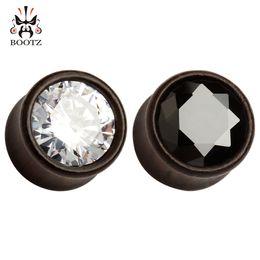 Wholesale Make Rhinestone Jewelry - 2016 crystal black walnut wood piercing gauges ear tunnel plugs body jewelry making supplier 8mm to 16mm