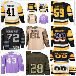 Wholesale Mario Customs - 2018 Mens Kids Lady Pittsburgh 71 Evgeni Malkin 75 Ryan Reaves 66 Mario Lemieux Phil Kessel Salute 2017 Champion Patch Custom Hockey Jerseys